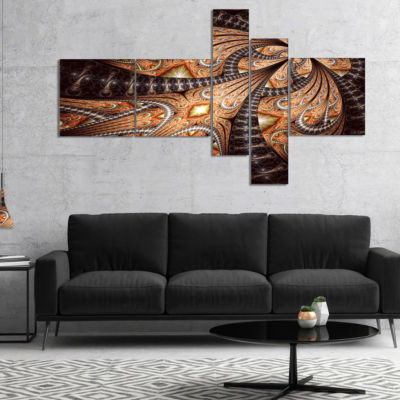 Designart Brown Symmetrical Fractal Flower Multipanel Abstract Canvas Art Print - 5 Panels