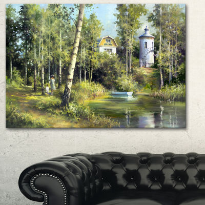 Designart The River In The Spring Landscape Art Print Canvas - 3 Panels