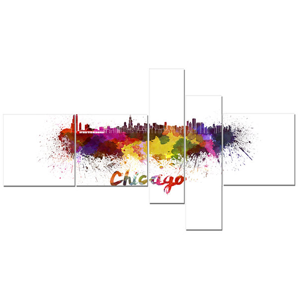 Designart Chicago Skyline Multipanel Yellow Multipanel Cityscape Canvas Art Print - 5 Panels