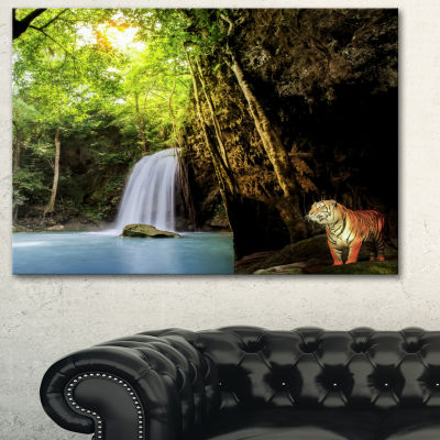 Designart Tiger Watching Waterfall Landscape Photography Canvas Art Print