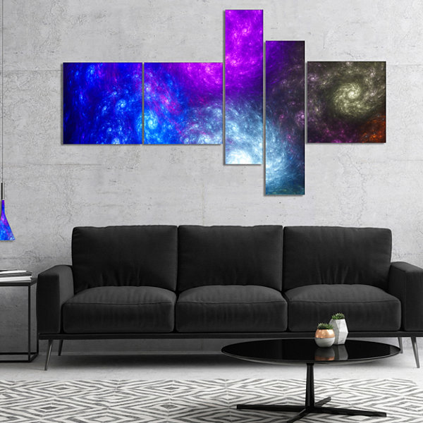 Designart Colorful Fractal Rotating Galaxies Multipanel Abstract Wall Art Canvas - 4 Panels