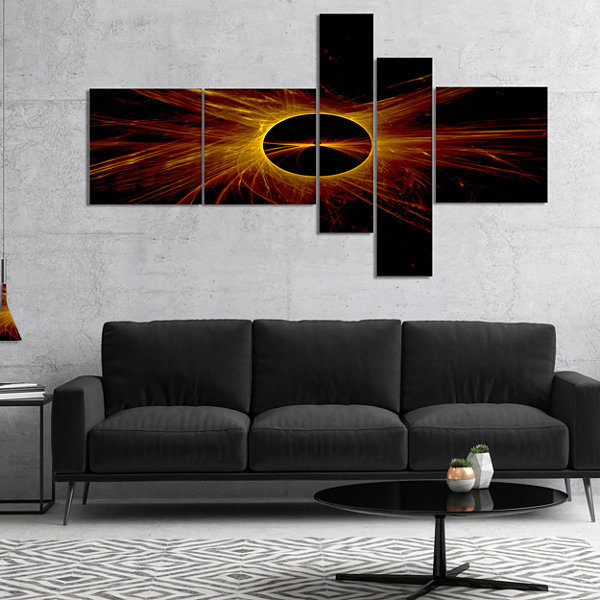 Designart Dark Solar Eclipse On Black Multipanel Abstract Art On Canvas - 5 Panels