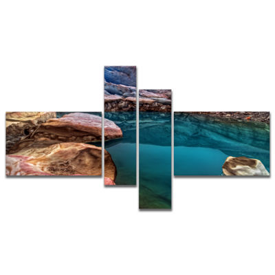 Designart Deep Glacier Cave In Blue Multipanel Landscape Canvas Art Print - 4 Panels
