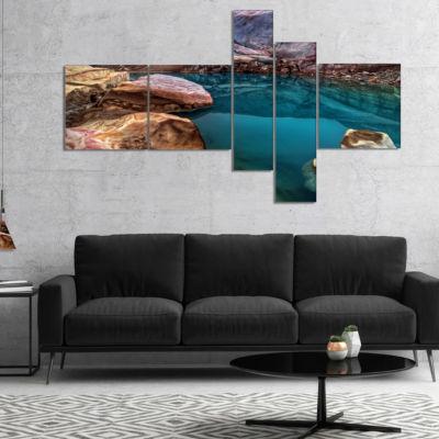 Designart Deep Glacier Cave In Blue Multipanel Landscape Canvas Art Print - 5 Panels