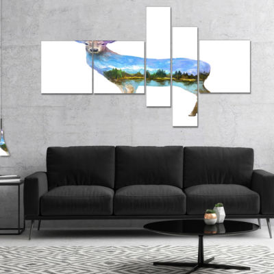 Designart Deer Double Exposure Illustration Multipanel Animal Canvas Art Print - 5 Panels