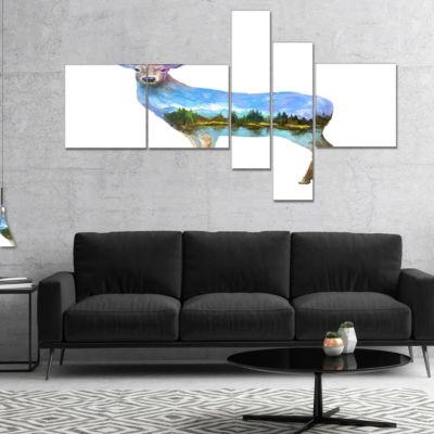 Designart Deer Double Exposure Illustration Multipanel Large Animal Canvas Art Print - 4 Panels