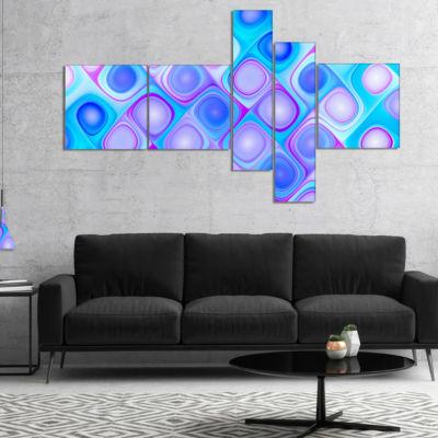 Designart Dense Blue Pattern With Swirls Multipanel Abstract Wall Art Canvas - 4 Panels