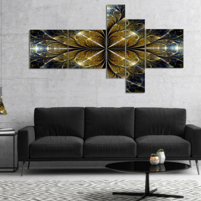 Designart Digital Gold Fractal Flower Pattern Multipanel Abstract Wall Art Canvas - 5 Panels