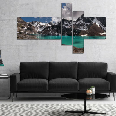 Designart Distant Mountains And Mountain Lake Multipanel Landscape Canvas Art Print - 4 Panels