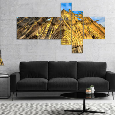 Designart Dom Church In City Cologne Lit By Sun Multipanel Large Cityscape Art Print On Canvas - 4Panels