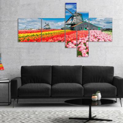Designart Dutch Windmills And Garden Multipanel Abstract Canvas Wall Art - 5 Panels