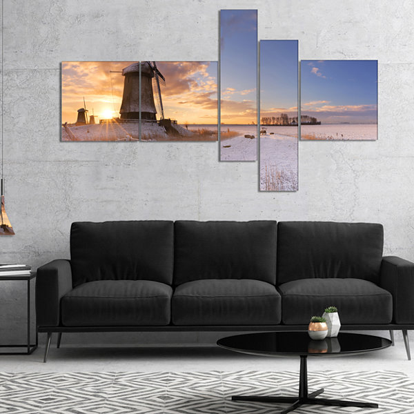 Designart Dutch Windmills At Sunrise Multipanel Abstract Canvas Art Print - 4 Panels