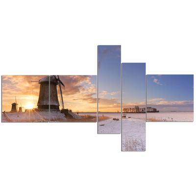 Designart Dutch Windmills At Sunrise Multipanel Abstract Canvas Wall Art - 5 Panels