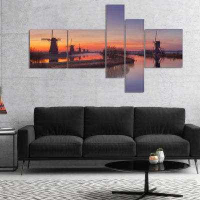 Designart Dutch Windmills Panorama Multipanel Abstract Canvas Wall Art - 5 Panels