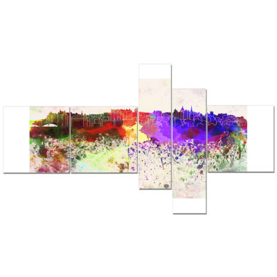 Design Art Edinburgh Skyline Multipanel CityscapeCanvas Artwork Print - 5 Panels