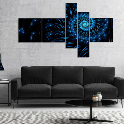 Designart Endless Spiral Snail Blue Multipanel Abstract Canvas Art Print - 4 Panels