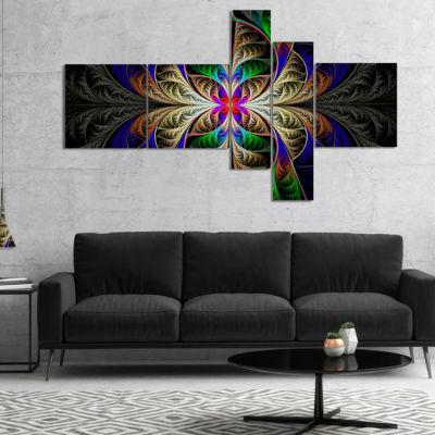Designart Fabulous Multi Color Fractal Art Multipanel Abstract Canvas Art Print - 5 Panels