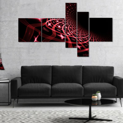 Designart Fractal Purple Dense Stripes MultipanelAbstract Canvas Art Print - 5 Panels