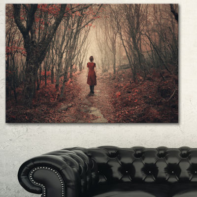 Designart Woman In Frosty Forest Landscape Photography Canvas Print