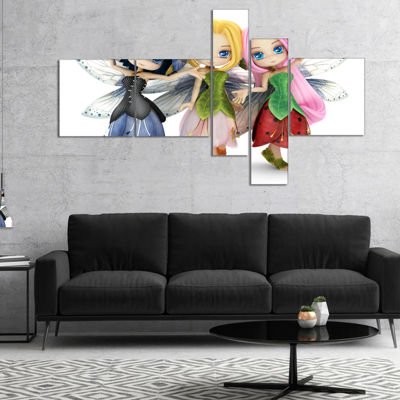 Designart Fairy Friends Posing Together MultipanelAbstract Portrait Canvas Art Print - 4 Panels