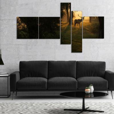 Designart Deer In Sunset In Deep Forest MultipanelForest Canvas Art Print - 5 Panels