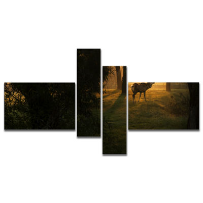 Designart Deer In Sunset In Deep Forest MultipanelLarge Forest Canvas Art Print - 4 Panels