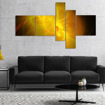 Designart Distant Golden Space Nebula Multipanel Floral Canvas Art Print - 5 Panels