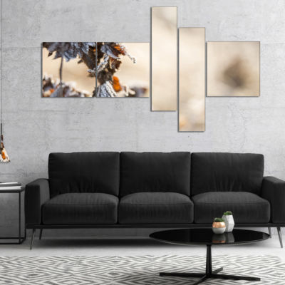 Designart Beautiful Grass Covered With Ice Multipanel Floral Canvas Art Print - 4 Panels