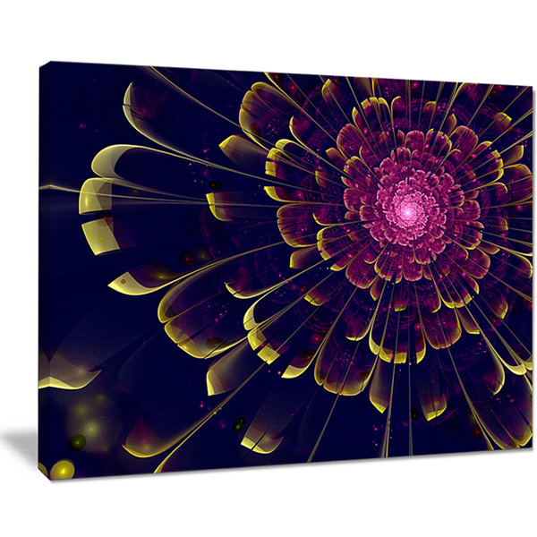 Designart Fractal Flower With Yellow Details Floral Art Canvas Print