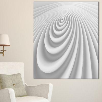 Designart Fractal Rounded White 3D Waves AbstractCanvas Art Print