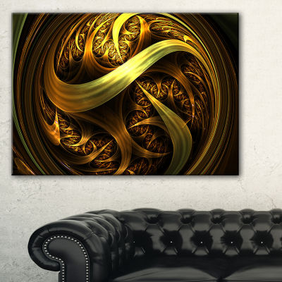 Designart Golden Fractal Sphere In Dark AbstractCanvas Art Print