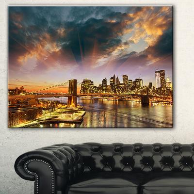 Designart Manhattan At Winter Sunset Cityscape Photo Canvas Print - 3 Panels