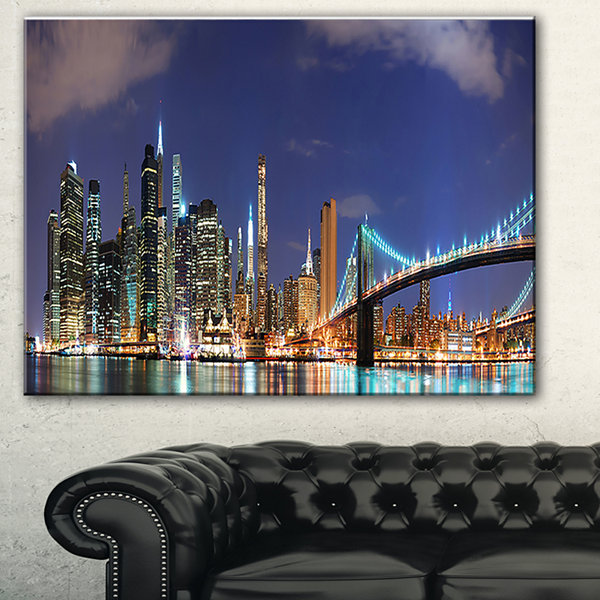Designart Manhattan Panoramic Skyline View Cityscape Photo Canvas Print