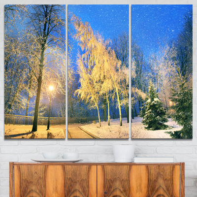 Designart Mariinsky Garden In Severe Weather Landscape Photography Canvas Print - 3 Panels