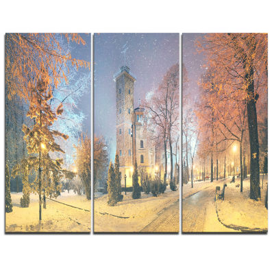 Designart Mariinsky Garden In Yellow Tone Landscape Photography Canvas Print - 3 Panels