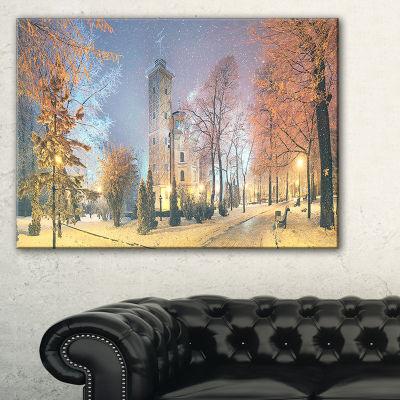 Designart Mariinsky Garden In Yellow Tone Landscape Photography Canvas Print - 3 Panels