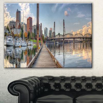 Designart Marina Along The River Landscape Photography Canvas Print - 3 Panels