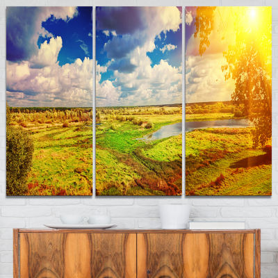 Designart Meadow With Small Flood Sky Landscape Photography Canvas Print - 3 Panels