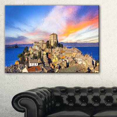 Designart Medieval Village Capodimonte Landscape Photography Canvas Print - 3 Panels