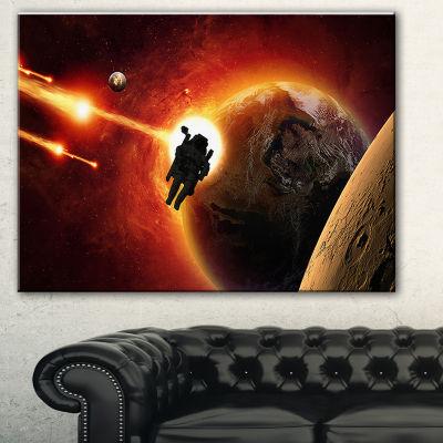 Designart Mission To Mars Spacescape Canvas Art Print - 3 Panels