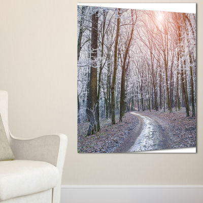 Designart Misty Trail In Autumn Forest Landscape Photography Canvas Print - 3 Panels