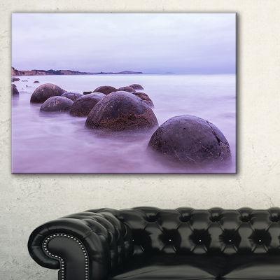 Designart Moeraki Boulders New Zealand Seashore Photo Canvas Art Print - 3 Panels