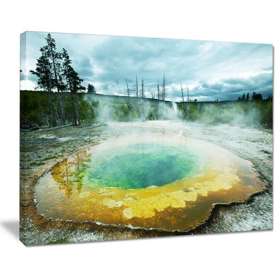Designart Morning Glory Pool Under Clouds Landscape Photography Canvas Print