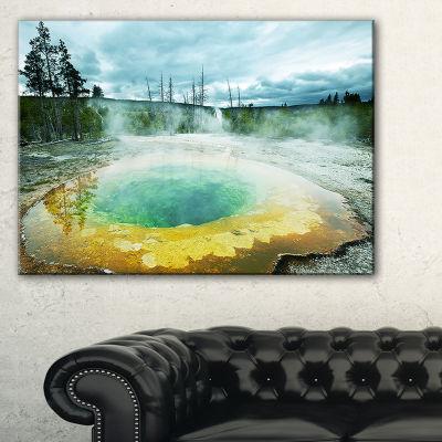Designart Morning Glory Pool Under Clouds Landscape Photography Canvas Print - 3 Panels