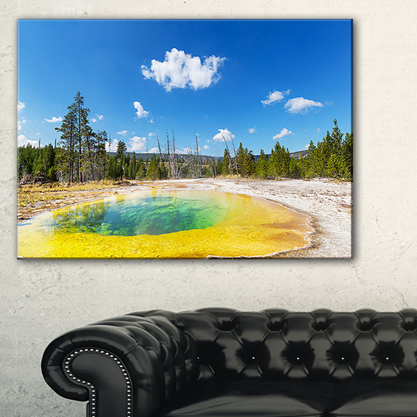 Designart Morning Glory Pool With Bright Sky Landscape Photography Canvas Print - 3 Panels