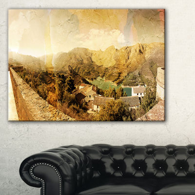 Design Art Mountain And Lofty Lake Landscape PhotoCanvas Art Print - 3 Panels