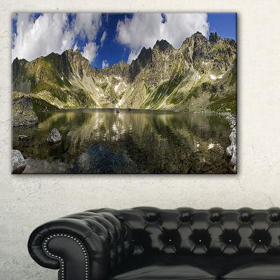 Designart Mountain Lake With Reflection LandscapePhoto Canvas Art Print - 3 Panels