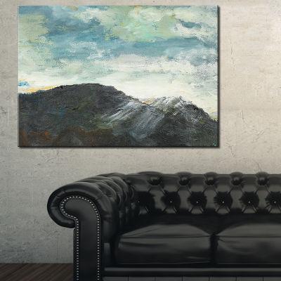 Designart Mountain Peak Under Cloudy Sky LandscapePainting Canvas Print - 3 Panels