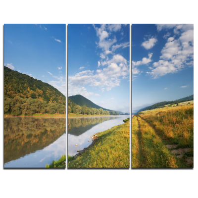 Designart Mountain River Under Blue Sky LandscapePhotography Canvas Print - 3 Panels