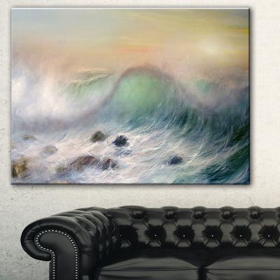 Designart Mountains Of Waves Seascape Canvas Art Print